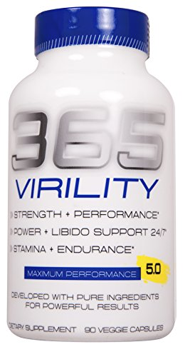 365 Virility Testosterone Booster - Increase Energy,Endurance Best Stamina Physical Performance product with Horny Goat Weed, maca, and tribulus 90 Veg cap Pentlab