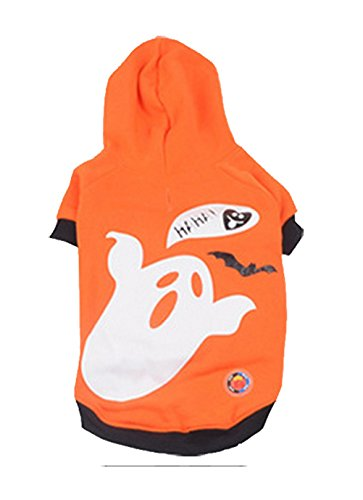 [Freerun Pet Dog Cat Puppy Shaking Light Halloween Costume LED Clothes -OrangeGhost, L] (Seven Dwarfs Costume Ideas)