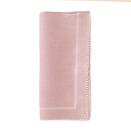 Bodrum Picot Mauve (Pale Purple) & White Linen Napkins (Set of 6) 22'' x 22'' (55.9cm x 55.9cm) by Bodrum