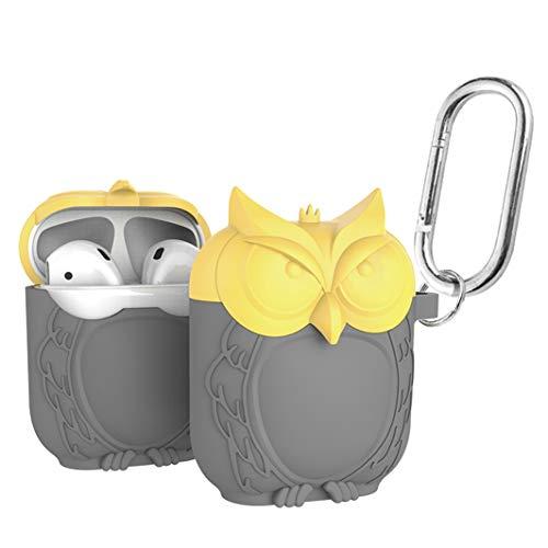 LBOTOO AirPods 케이스 커버 (자체 설계 · 올빼미 타입) AirPods 에어팟용 실리콘 케이스 충격 방진 방수 미끄럼 방지 휴대 편리 AirPods 보호 커버