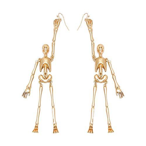 Gold Statement Skull Earrings, Punk Long Drop Dangle Hoop Earrings Fish Hook Halloween Gift for Women Girl ()
