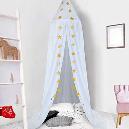 Ceekii Kids Bed Canopy Dome Hook Cotton Mosquito Nets Children's Room Bedroom Games Reading Tent Nursery Play Room Decor (White)