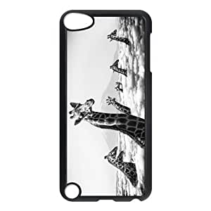IPod Touch 5th Case,Giraffes Higher Than Clouds Black And White Hign Definition Design Cover With Hign Quality Hard Plastic Protection Case