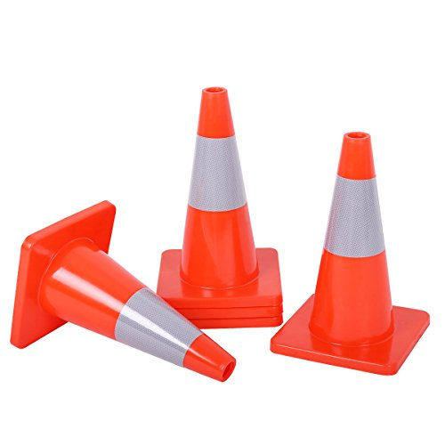 Goplus 5PCS Traffic Cones 18'' PVC Safety Road Parking Cones Driving Construction Cones Orange with 6'' Reflective Strips Collar by Goplus (Image #1)