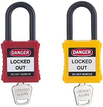 Pack 2 unidades candado consignación ABS no conductores en color amarillo y rojo: Amazon.es: Bricolaje y herramientas