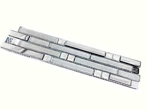 (Hominter Tile Sample 3 x 12 Inches: Silver Coated Glass Tile, Clear Crystal Backsplash Tiles, Strip Interlocking Patterns for Kitchen Backsplashes, Bathroom and Shower YG001)