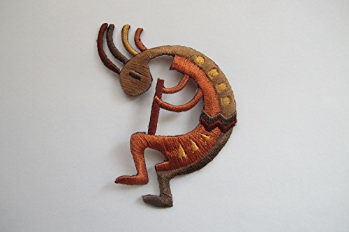 Brown Kokopelli Fertility Deity God Embroidery Applique Patch #4447AR by ade_patch