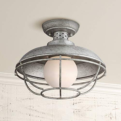 Franklin Park Rustic Farmhouse Outdoor Ceiling Light Galvanized Steel Cage 12
