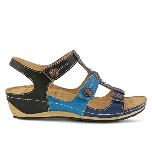 Melissa Leather Step Style Sandal Navy Multi Spring by Women's L'Artiste xcwq1PH6