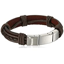 Men's Leather with Stainless Steel Clasp Bracelet