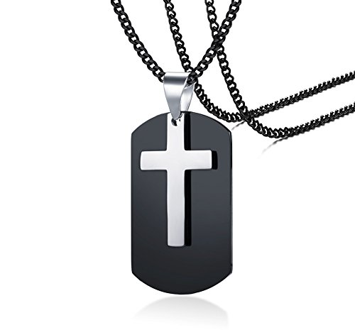 PJ Jewelry Personalized Engraved Stainless Steel 2 in 1 Military Army Dog Tag Pendant Cross Necklace for Men