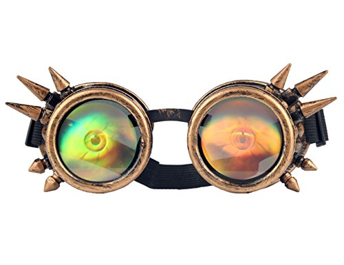 Retro Eye in Lens Vintage Rustic Goth Goggles with Rivets for Cosplay Party by Hioffer
