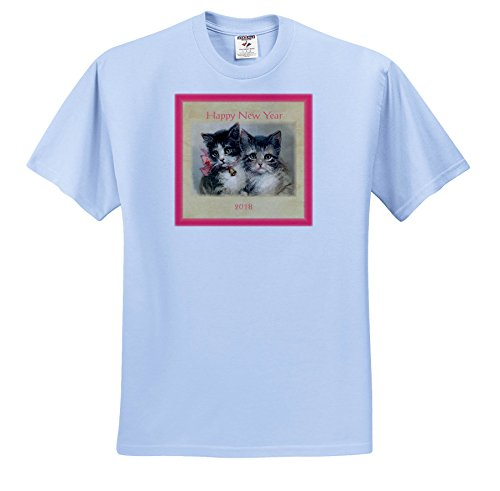 3dRose New Year Designs - Image Of Vintage Style 2018 Happy New Year Kittens - T-Shirts - Light Blue Infant Lap-Shoulder Tee (6M) - Images Happy Vintage New Year