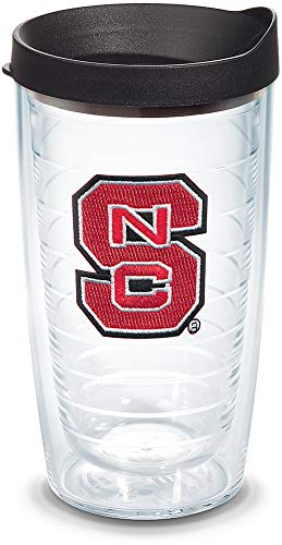 (Tervis 1056590 NC State Wolfpack Logo Tumbler with Emblem and Black Lid 16oz, Clear)