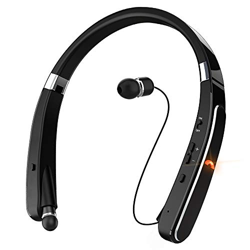 Bluetooth Headphones, Dostyle Wireless Bluetooth Headphones [30 Hours Playtime] Neckband Bluetooth Headset with Mic & Retractable Design Compatible for X/8/XS Plus Samsung Galaxy S9 S10 (Black)