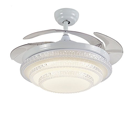 Huston Fan Mute 42 Inches Modern Retractable Chandelier Fan With 4 Invisible Blades White Three Layers Ceiling Fan Light Remote Control Indoor LED Light Fixtures Ceiling Fan Variable Light Review