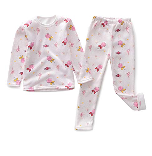Girls Boys Cotton Pajamas Thermal Underwear Toddler Thicken Warm Cute Printed 2 PC Set