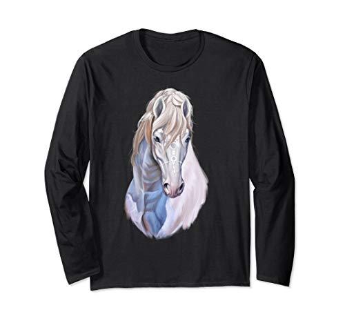 White Horse Beautiful Art Long Sleeves Horses Tee Shirt Gift