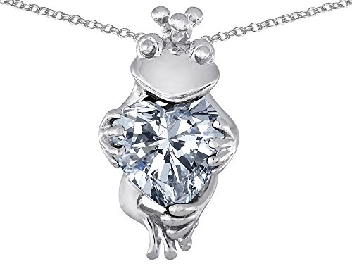 Star K Heart-Shape Simulated White Topaz Lucky Frog Prince Pendant Necklace