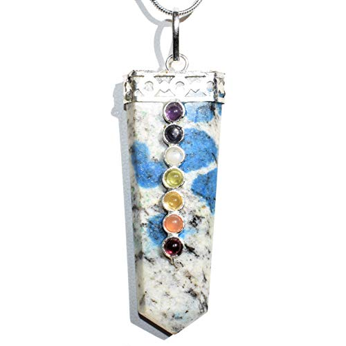 Zenergy Gems Charged 7 Chakra Natural K2 Granite (Azurite Spots) Crystal Perfect Pendant + 20