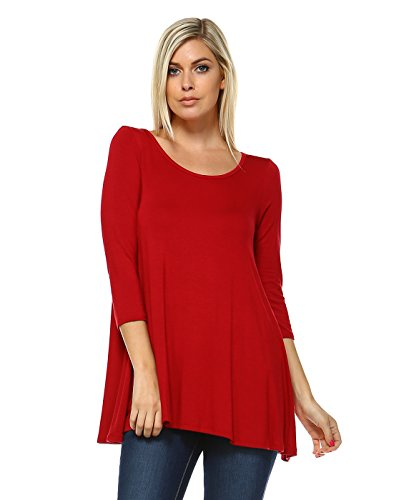 Tunic Tops For Leggings Women - A Line Comfort Swing Top Made In USA Large Tango Red