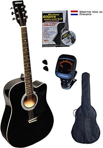 Clifton Western Guitarra, Negro Cutaway, diapasón de palisandro ...