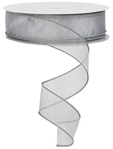 sheer organza ribbon wired edge. color- silver. 1 1/2'' x 50 yards - Edge Sheer Ribbon