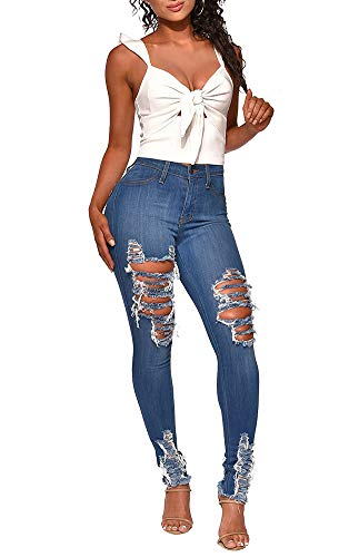 LETSVDO Women's Juniors Vintage Denim High Waisted Hollow Out Jeans Long Pants With Pockets Plus Size
