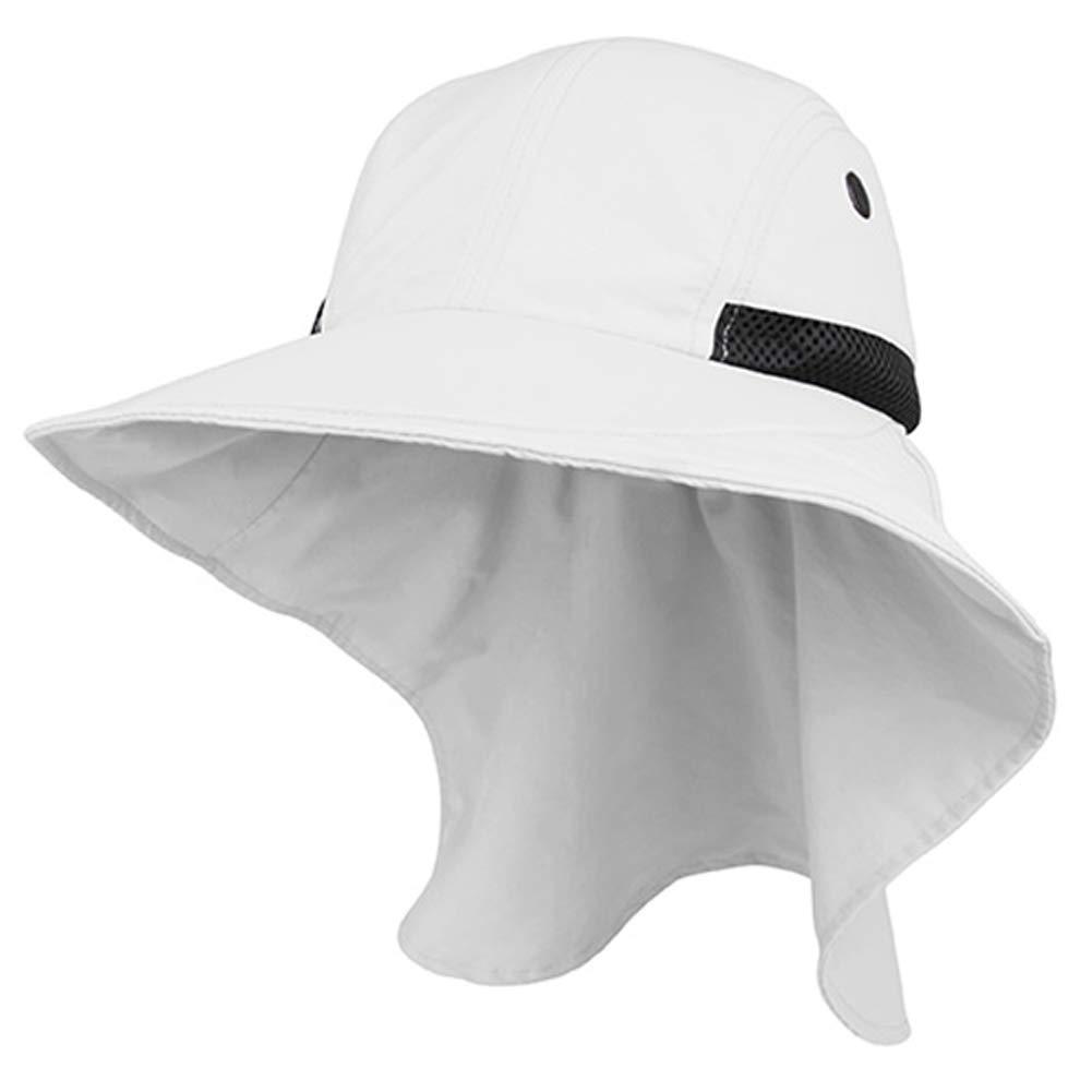 Juniper Womens Wide Brim Sun Flap Hat Camping Boating White