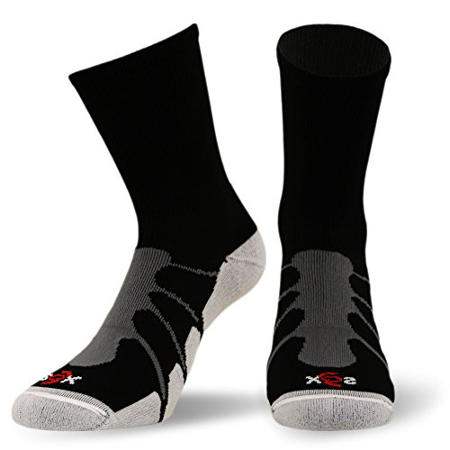 Crew Compression Socks - Sox MultiSport Plantar Fasciitus Crew Compression Socks, Black, Large - SS3011
