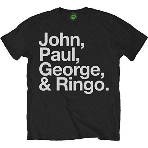 The Beatles Men's John Paul George And Ringo Short Sleeve T-shirt, Black,