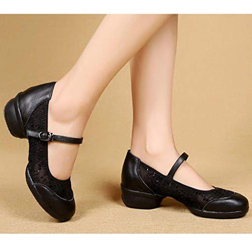 Girls Showtime Ladies Shoes Dance Dance Character Shoes Low Round Toe Stage Leather Black Heel gAxgrqnEtw