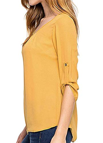Primavera Top Quotidiani Bluse e 4 Simple Camicetta Moda Maniche Giallo Bottoni Casual 3 Shirt Autunno con Donna Camicie Cime Fashion Maglietta 5afqAF
