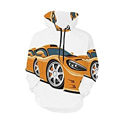 Cars Simple Hoodie,Orange Sports Car Fast Racing Roadster Modern Automotive Technology Decorative for Work,XL
