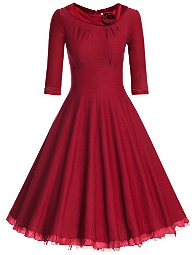 MUXXN Ladys 1950s Rockabillty 3/4 Sleeve Swing Vintage Dress (S, Burgundy)
