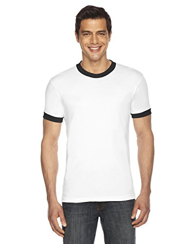 American Apparel Poly-Cotton Short-Sleeve Ringer T-Shirt (BB410W) -White/BLAC -S