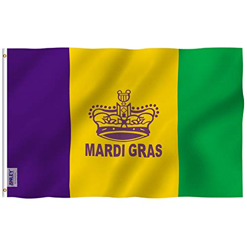 (Anley Fly Breeze 3x5 Foot Mardi Gras Flag Happy Carnival Decoration - Vivid Color and UV Fade Resistant - Canvas Header and Double Stitched - Fat Tuesday Flags Polyester with)