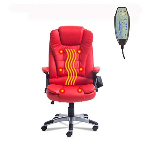 Belovedkai Office Computer Desk Massage Chair Executive Ergonomic Chair 360 Degree Height Adjustable 6 Point Massage Chair (Red) For Sale