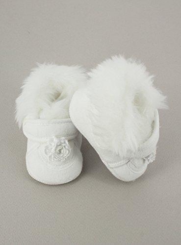 Boutique-Magique Hausschuhe zur Taufe Winter Weiß für Baby Mädchen–Produkt Gespeichert und verschickt Schnell seit Frankreich Weiß