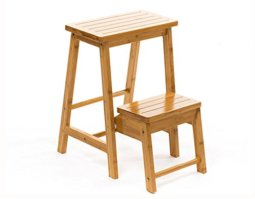 Kitzen Solid wood stool fold ladder table indoor Dual use Super strong Assembly chair kitchen overall ()