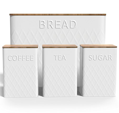 Extra Large Vertical Bread Box + Bamboo Cutting Board - Food Storage - Kitchen Container - Non Toxic - Eco Friendly … (Cannister Set) - Canister Box