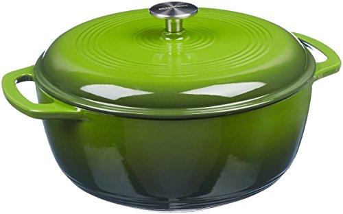 AmazonBasics Enameled Cast Iron Covered Dutch Oven, 7.3-Quart, Green