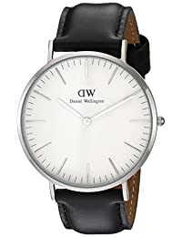 Daniel Wellington Men's Black/White Leather Watch