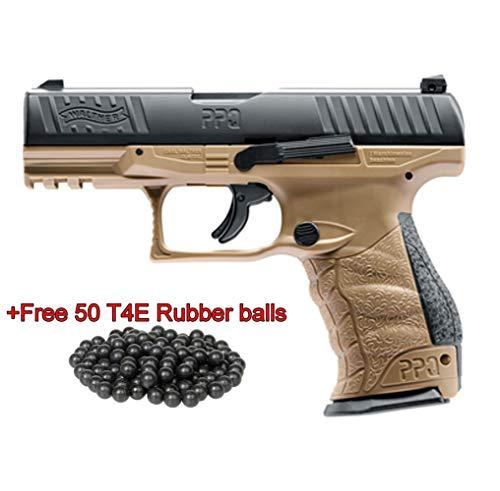 T4E Walther PPQ M2 (GEN2) .43cal CO2 Semi Auto Blow Back Paintball Pistol - FDE w/Free 50 Rubber Balls (Best Cheap Semi Auto Handgun)