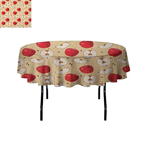 Douglas Hill Apple Printed Tablecloth Fresh Apple Slices with Seeded Backdrop Pie Ingredients Vegetarian Way of Life Desktop Protection pad D70 Inch Cream Red Beige