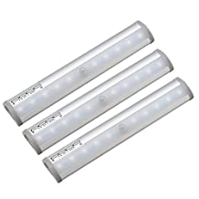 Kuled Motion Sensor light Stick-on Anywhere Step Wireless 10 LED Lighting Bar with Magnetic Strip for Closet, Cabinet, Drawer, Pure White,KULED 8116, 3-Pack (3PACK)