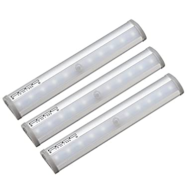 Kuled 10-led Wireless Motion Sensing Stick-on Anywhere Step LED Light Bar with Magnetic Strip, Pure White,  3-Pack