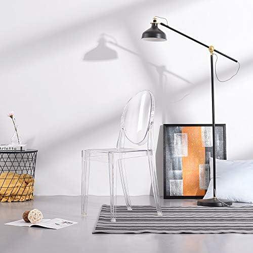 4 sillas de comedor de policarbonato transparente para restaurante, bar y uso en interiores y exteriores.