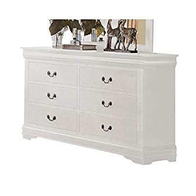 ACME Furniture Louis Philippe 23835 Dresser, White, One Size - With six drawers Center metal glide drawer Brushed nickel metal handle - dressers-bedroom-furniture, bedroom-furniture, bedroom - 41EbbXb71 L. SS400  -
