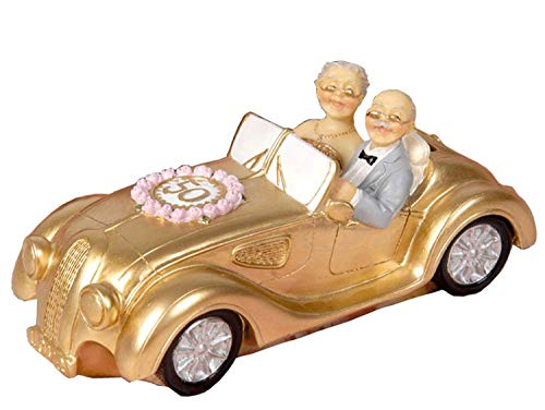 50th Anniversary Gift Golden Marriage Couples Wedding Cake Toppers Polyresin Figurines Collectibles for Parents